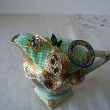 3 Vintage Brooches Pinned to a Vintage Victorian Hand Painted Nippon Pitcher Pin Cushion