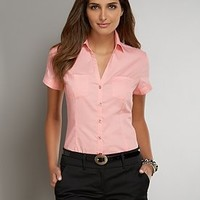 Patch Pocket Button-Front Shirt - New York & Company