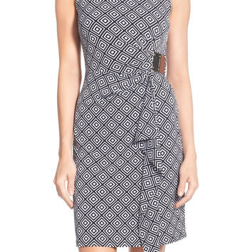 'Loflin' Print Sleeveless Logo Plate Jersey Dress