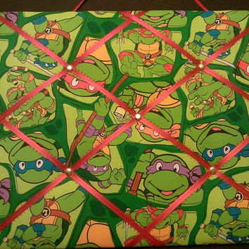 Teenage Mutant Ninja Turtles TMNT French Memo Board - Bulletin Board - Picture Holder - Hair Ribbon Organizer  ~ FREE Shipping