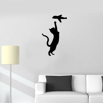 Wall Decal Cat Pet Animals Airplane Black Vinyl Sticker (ed1164)