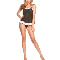 Ruffle Lace Babydoll W-adjustable Straps & G-string Black 2x