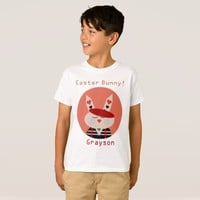 Custom Name Easter Bunny Boys' Hanes T-Shirt