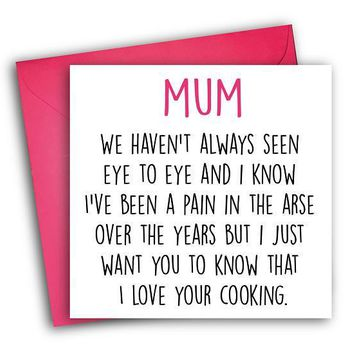 I Love Your Cooking Mum Funny Mother's Day Card Card For Her Card For Mom FREE SHIPPING
