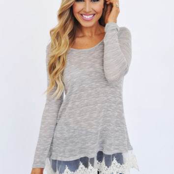 Heather Grey Lace Hem Tunic