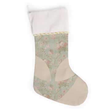"Alias ""Floral Alien"" Pink Teal Christmas Stocking"