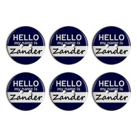 Zander Hello My Name Is Plastic Resin Button Set of 6