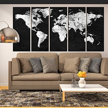 black and white world map grey, vintage World map wall art canvas print extra large canvas art for living room, old world map wall decal , wall decoration for bedroom, hr122