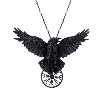 Witchcraft Dark Magic Raven Helm of Awe Gothic Raven necklace