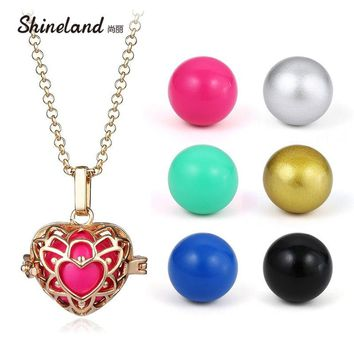 Hot Sale Collares Jewelry Mum Pregnancy Baby Gift Long Chain Hollow Love Heart-shaped Necklace Angel Ball Charm Pendant Women