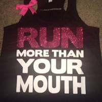 Run More Than Your Mouth - Pink - Ruffles with Love - women's fitness - women's workout clothing
