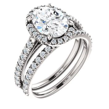 Oval Moissanite Diamond Accent Ice Halo Cathedral Ring