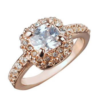 susenstone New Fashion Womens Crystal Rings Gold Silver Color Ring For Women Wedding Jewelry Accessories Gift Drop Shipping