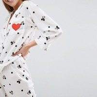 ASOS Mickey Mouse Embroidered Heart Trouser and Shirt Pyjama Set at asos.com