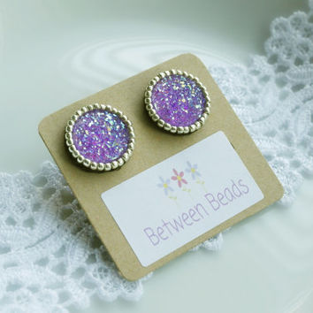 Druzy Silver Earrings, Resin Cabochon, Sugar Stone Druzy, Purple Drusy Effect Embroidery Beads Stud Lightweight Gift for her Violet Lilac
