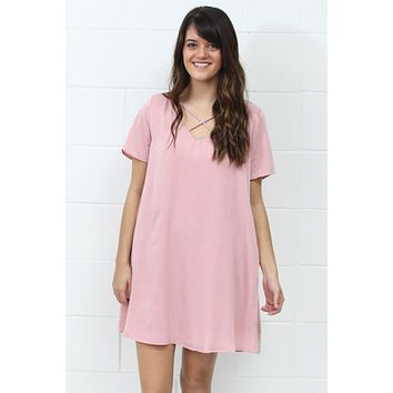 Simple Criss Cross Strappy Pocket Dress {Blush} - Size LARGE