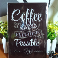 Vintage Coffee Metal Painting
