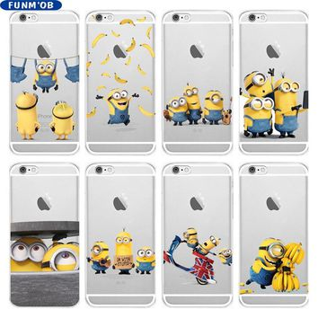 Cute Funny Cartoon Despicable Me Yellow Minion Soft Silicone TPU Case Cover For iPhone 6 6S 7 8 Plus 5 5S SE X Xs Max Xr Coque