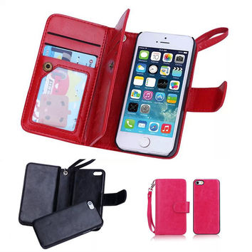 Magnetic Leather Detachable Case For iPhone 5 5S 5SE 6 6S 7 Plus Flip Cover 2 in 1 Multi-Function Wallet Case+9 Card Slots