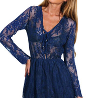 Navy Drawstring V Neck Sheer Lace Skater Dress