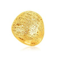 Italian Design 14K Yellow Gold Woven Bombe Dome Ring P150-73073-7