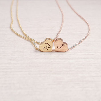 Gold Heart Necklace, Gold Initial Necklace, Tiny Heart necklace, Gold Plated Necklace, Rose gold Heart Necklace, Gift Idea