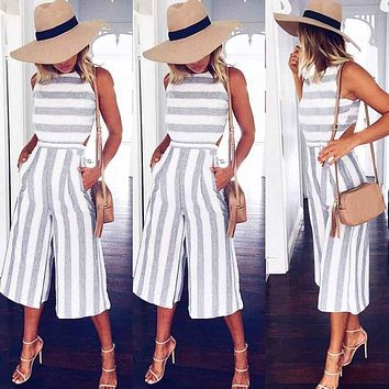 Women's Sleeveless Striped Jumpsuit Casual Loose