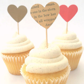 bridal shower cupcake toppers set - book page vintage wedding decor