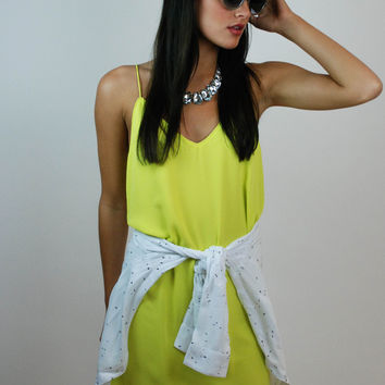 Pleasant Surprise Tank Dress - Citrus