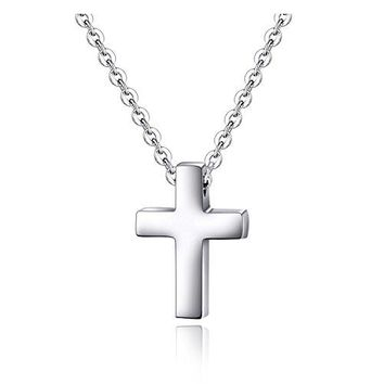 SHIP BY USPS Tiny Simple Cross Pendant for Children Boy Girl Stainless Steel Small Necklace