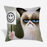 Angry cat grumpy Pillow Case