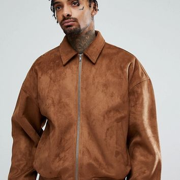 ASOS Oversized Faux Suede Harrington Jacket in Tan at asos.com