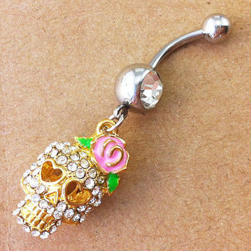 skull Belly Button Rings, belly button ring, crystal skull belly ring, bestfriend belly button ring