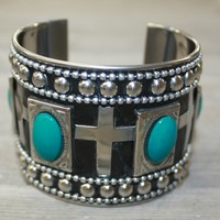 Silver Cuff Bracelet with Crosses and Turquoise Stones