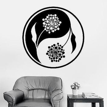 Wall Sticker Buddha Yin Yang Floral Flower Yoga Mandala Vinyl Decal Unique Gift (z2898)