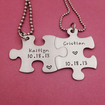 Personalized Puzzle Piece Necklace Duo -Name and Date  - HandStamped Stainless Steel Wedding Anniversary Gift