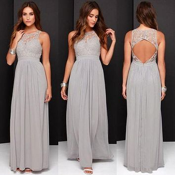 2016 Bridesmaid Dresses Long Honor Of Maid Gown For Wedding Party Guest A Line Sheer Neck Silver Lace Chiffon Backless Cheap