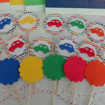 12 Car Cupcake Toppers - Food Picks - Food Picks - Dimensional Pop Up Race Cars - Racing Stripes - Birthday Party Decorations