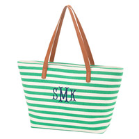 Green Stripe Charlotte Tote Purse with Initial or Monogram