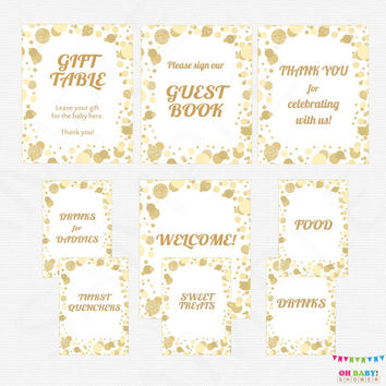Gold Baby Shower Table Signs, Printable Baby Shower Signs, 9 Baby Shower Signs, Welcome Sign, Guest Book Sign, Drinks Food Sign CB0003-g