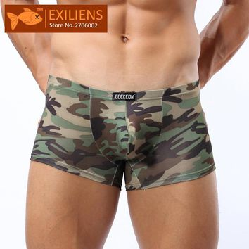 [EXILIENS] Hot Underwears COCKCON Men's Shorts Boxers Camouflage Panties Male Fiber Man Underpants Brand GAY Solid Size M-XXL