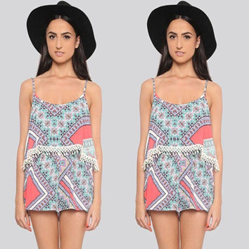 Summer Women's Fashion Print Lace Spaghetti Strap Jumpsuit [8098139591]
