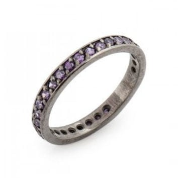 Amethyst Gemstone Full Eternity Ring / Pave Amethyst  Solid 18K White Gold Plated Engagement Wedding Full Eternity Matching Band Ring