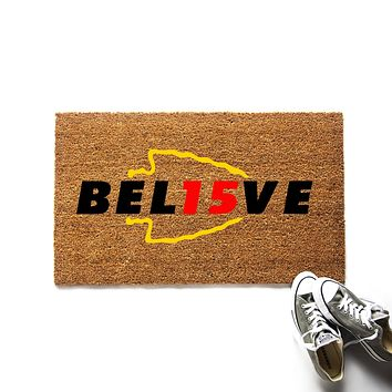 Believe Kansas City Chiefs Patrick Mahomes Doormat