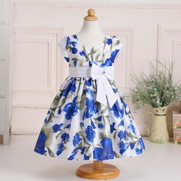 New Style Satin Flower Pattern Girl Dresses For weddings Party Gowns For Girls Child Dress With Bow LM112