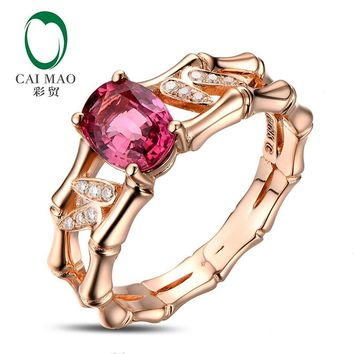 14k Rose Gold 1.10ct Pink Tourmaline Natural Diamond Engagement Ring Fine Jewelry