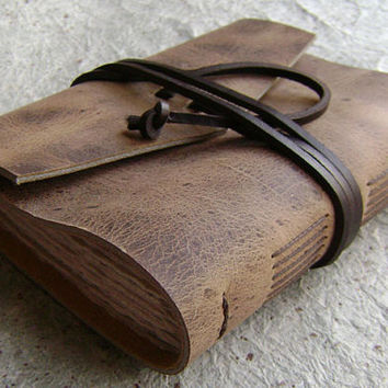 "Leather journal, distressed brown, rugged,  approx. 4""x 6"", handmade journal by Dancing Grey Studio (0038)"