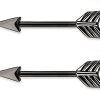 Arrow Nipple Bars Barbells Rings - 14G 316L Stainless Steel - Sold as Pair -Choose Silver Tone, Gold Tone, or Black (Black)