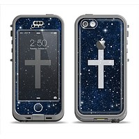 The Vector White Cross v2 over Bright Starry Sky Apple iPhone 5c LifeProof Nuud Case Skin Set