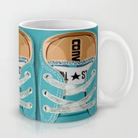 Cute converse all star Blue teal baby shoes Mug by Three Second